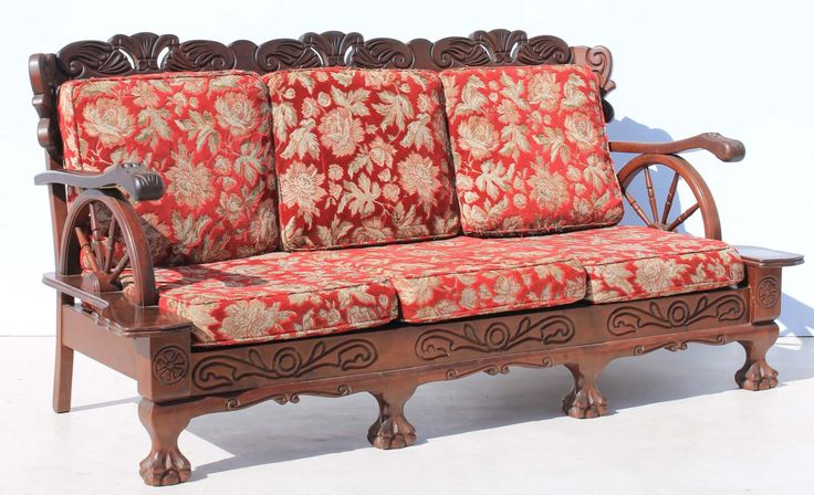 Three Seater Vintage Carved Imbuia Ball and Claw Wagon Wheel Couch Condition:  Used  Three Seater Vintage Carved Imbuia Ball and Claw Wagon Wheel Couch  size of couch: 1900 L x 700 W x 910 H  R3999 for the couch  Cell 076 706 4700  Tel 021 - 558 7546  www.furnicape.co.za  0426