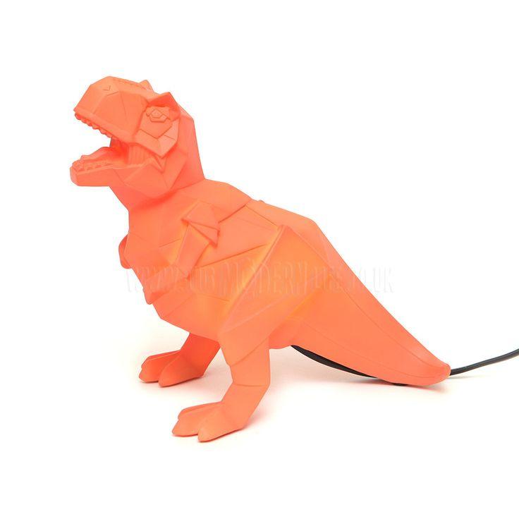Lamp . Origami Dino - T-Rex / Orange