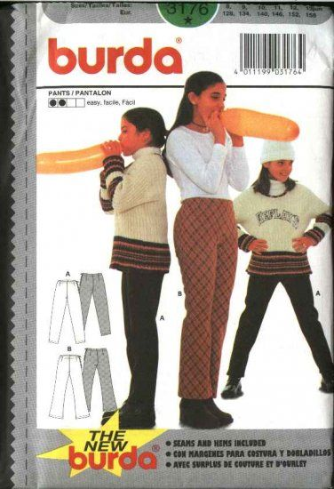 Burda Sewing Pattern 3176 Girls Size 8-13jr Easy Fitted Knit Pants  --  Need a different size or pattern? Check out our store www.MoonwishesSewingandCrafts.com for 8000+ uncut sewing patterns all sizes and styles!
