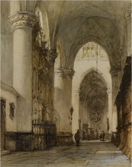 Johannes Bosboom, 1817 – 1891, De Grote Kerk Breda, watercolour and black chalk heightened with white on paper