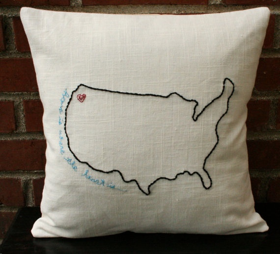 USA Embroidered Pillow