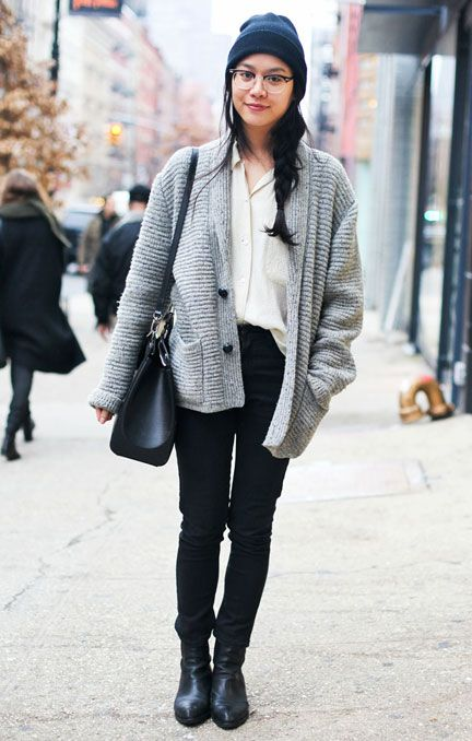 For days that aren't quite freezing, substitute an oversized cardigan for your coat #streetstyle