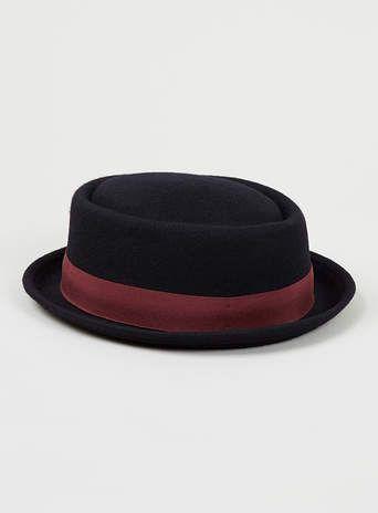 Navy Pork Pie hat - Topman