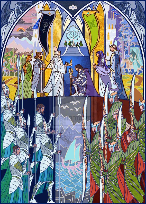 Stained glass representations of scenes from the Lord of the Rings books