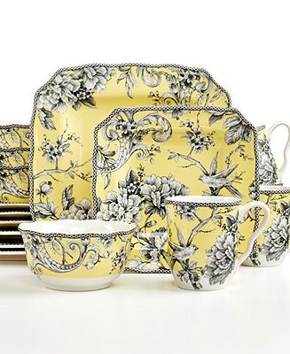 222 Fifth Adelaide Yellow Square 16-Piece Set - Casual Dinnerware - Dining & Entertaining - Macy's on sale $109.99