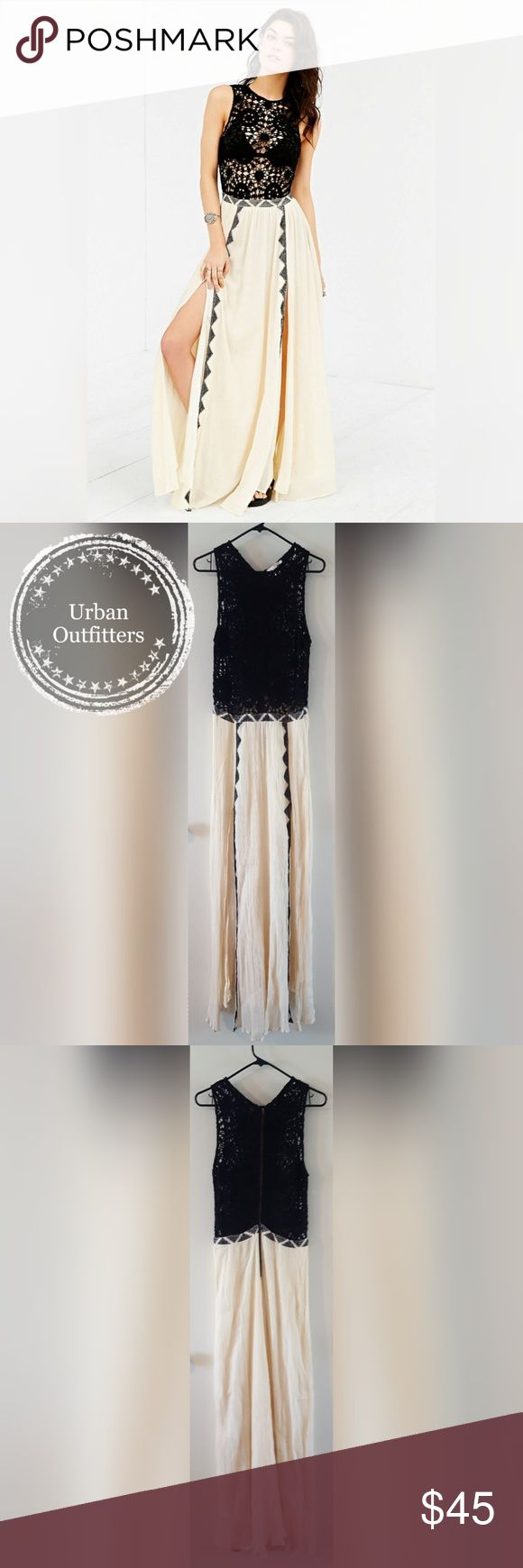 """Urban Outfitters Festival Maxi Black and cream colored crochet and gauze textured maxi dress. The front has a double slit, back closed with a metal zipper. EXCELLENT condition, sadly never worn. I was a bit too impulsive and bought it hoping it would fit, but it's a bit too small in the waist. Waist measures approximately 32"""". Urban Outfitters Dresses Maxi"""