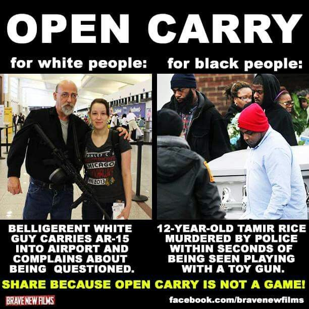 Open carry for whites vs blacks see the difference if you can t you
