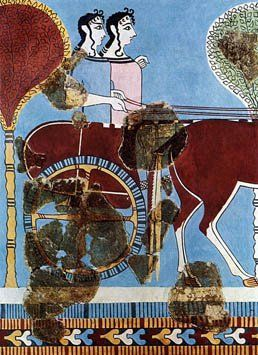 Two women or goddesses on a chariot. Fresco from Tiryns, 1200 BC   National Archaeological Museum of Athens