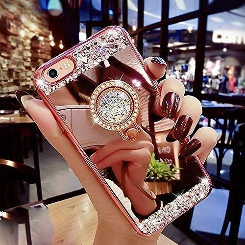 iPhone 6s Plus Case Surpriseyou Luxury Crystal Rhinestone Soft Rubber Bumper Bling Diamond Glitter Mirror Makeup Case with Ring Stand Holder for iPhone 6 Plus & 6s Plus (Rose Gold)
