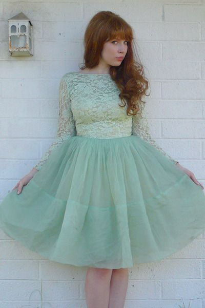 10 Best ideas about Green Vintage Dresses on Pinterest  Green ...