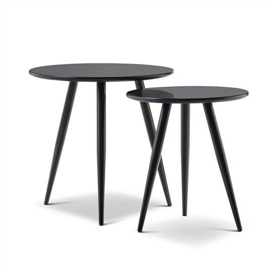 Zetta 2 Piece Round Side Table Set   Black   Side Tables   Living Room