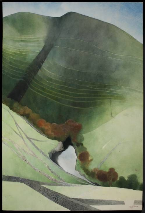 Edward Burra. 'Valley and River, Northumberland'. Watercolour and pencil on paper. 1972