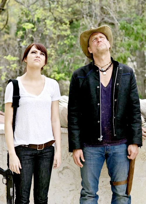 Emma Stone and Woody Harrelson in Zombieland (2009)