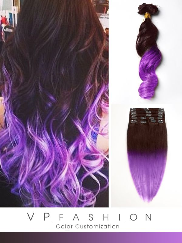 brown to purple mermaid colorful ombre indian remy clip in hair extensions cs024