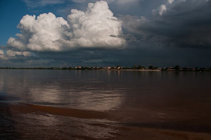 View of Stung Treng provincial town from the Mekong river, Stung Treng.