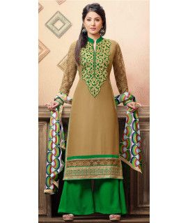 Classic Beige And Green Georgette Salwar Suit.