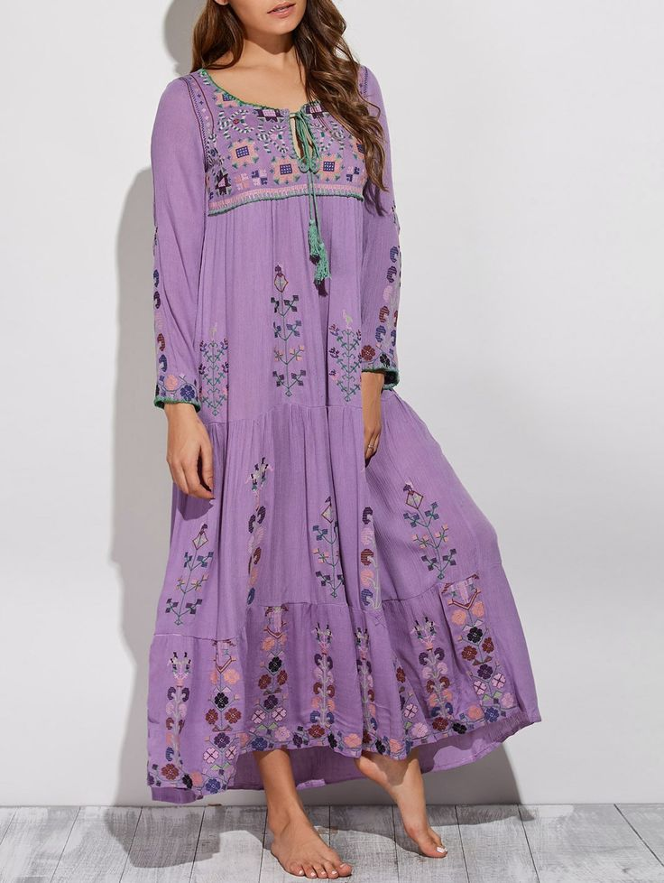 Embroidered Scoop Neck Swing Maxi Dress in Purple | Sammydress.com