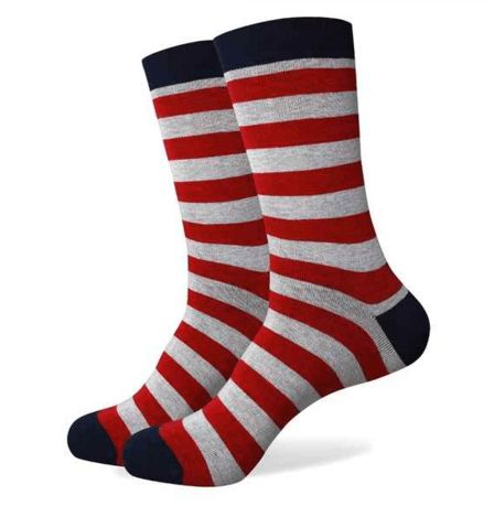 Dr Zeuss: Stripe Red and Grey Colorful Cotton Socks
