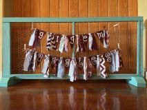 SEC Texas A&M maroon and white burlap rag banner to decorate for home, dorm or tailgate