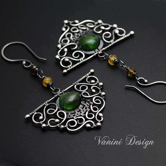 Evergreen-Fine/Sterling silver and tourmaline earrings | Flickr - Photo Sharing!
