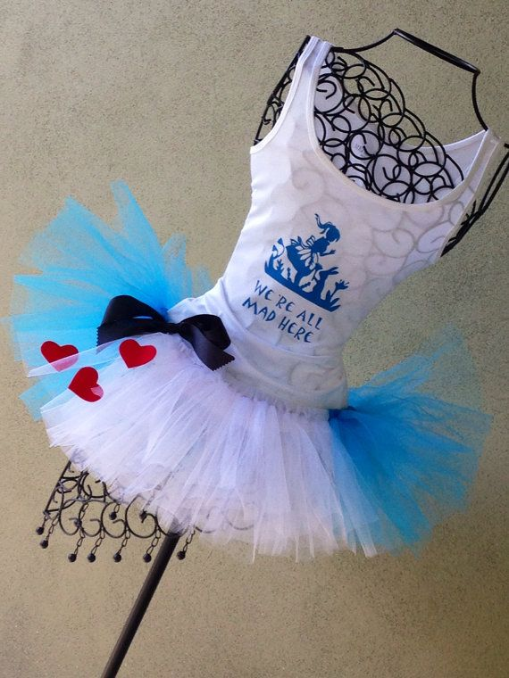 Running Tutu: Disney Princess Inspired Alice and Wonderland Inspired Custom Racing Tank and Pixie Length (9 inch) Tutu