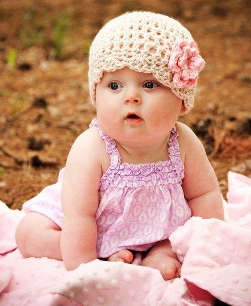 White Crochet Baby Girl Hat Pink Flower