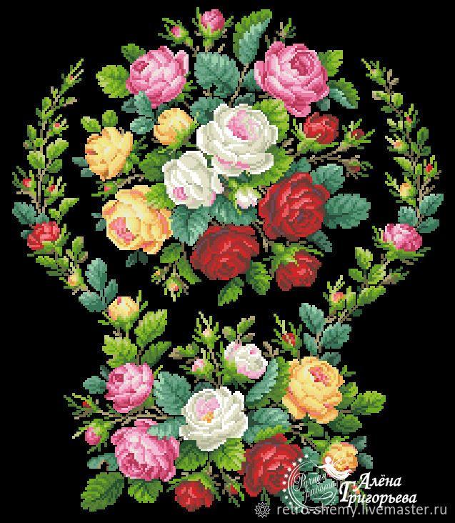 Купить или заказать Схема вышивки 'Садовые розы' в интернет-магазине на Ярмарке Мастеров. Авторская реконструкция старинной схемы для вышивания крестом 1800-1900 годов по старинному, раскрашенному вручную бумажному шаблону. Издательство L W Wittich. К схеме прилагается ключ в цветовой палитре ниток DMC, а также возможные размеры готовой вышивки на 14, 16, 18 и 25 канве. Схема в электронном виде, в формате PDF. Можно заказать цветной или черно-белый вариант схемы по вашему желанию, или...