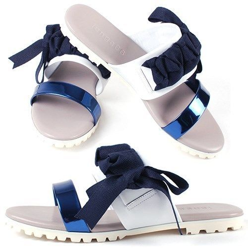NEW Korea Womens Ribbon Fasfiin Sandals&Handmade Ladies leather shoes Color Blue #BomNaviHandmade #fasfiinslippers
