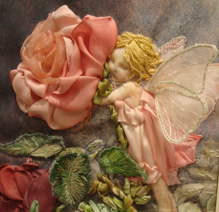 Ribbon embroidery - Rose Fairy