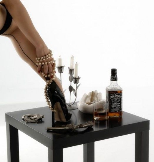 Woman Sexy - Black Heels Stockings Candles Pearls