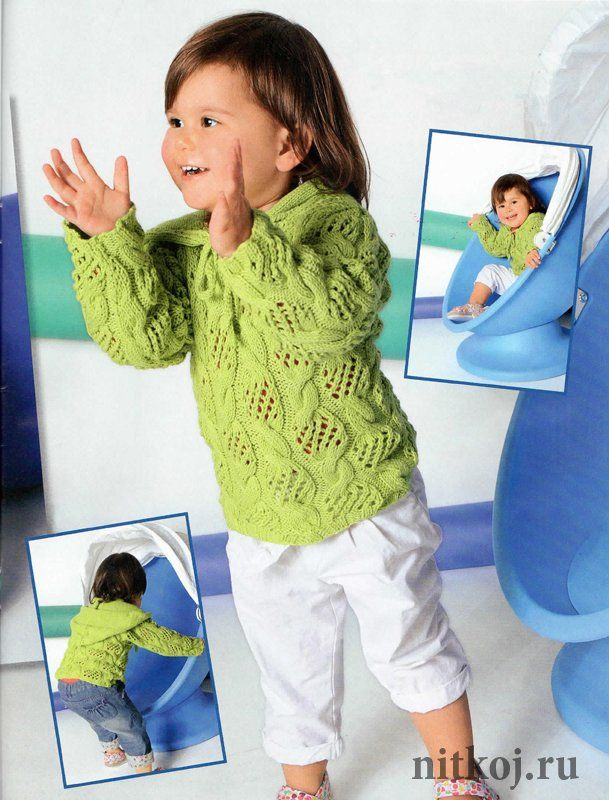 Пуловер для девочки спицами с «ажурными косами»