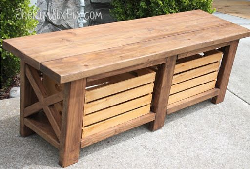 Rustic X-Leg Outdoor Wooden Bench with Built-In Crate Storage
