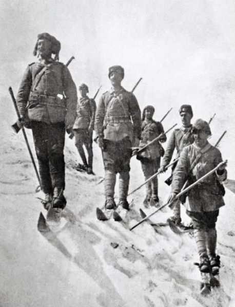 25 December 1914 to 18 January 1915 - Battles of Ardahan and Sarikamish - Ardahan was the Ottoman military operation commanded by German Lt. Col. Stange to capture the city of Ardahan and cut the Russian support link to Sarıkamış-Kars line in supporting the Battle of Sarikamish. The Sarikamish outcome was a Russian victory. The Ottoman troops (seen here), ill-prepared for winter conditions, suffered major casualties