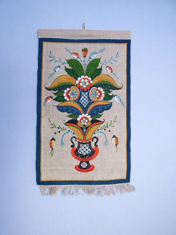Suecia Dalarna Kurbits Textil impreso para colgar por tiendanordica