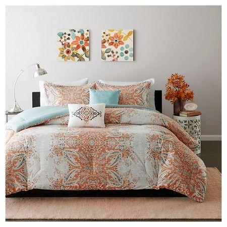 Alexis Faded Paisley Print Comforter Set - Orange : Target