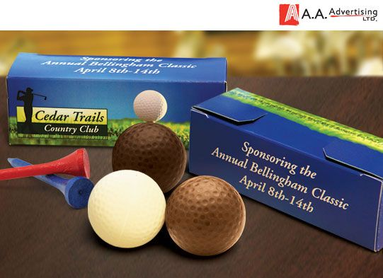 A great gift idea. Full-color custom printed golf box with 3 chocolate golf balls: one milk chocolate, one dark chocolate and one white chocolate. The size of an actual golf ball.