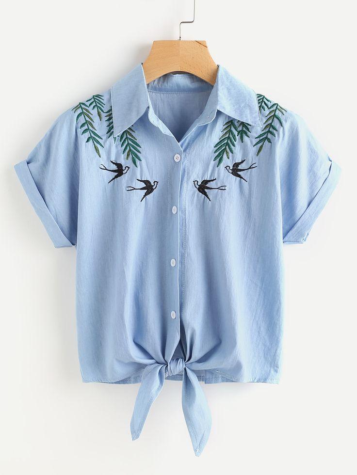 Blusa en denim bordada de golondrinas con nudo delantero-10,84€