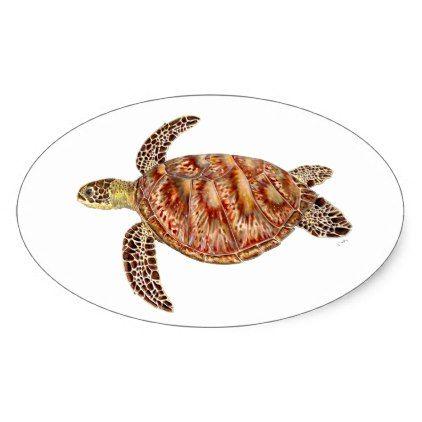 Green turtle - green Turtle Chelonia mydas Oval Sticker - craft supplies diy custom design supply special