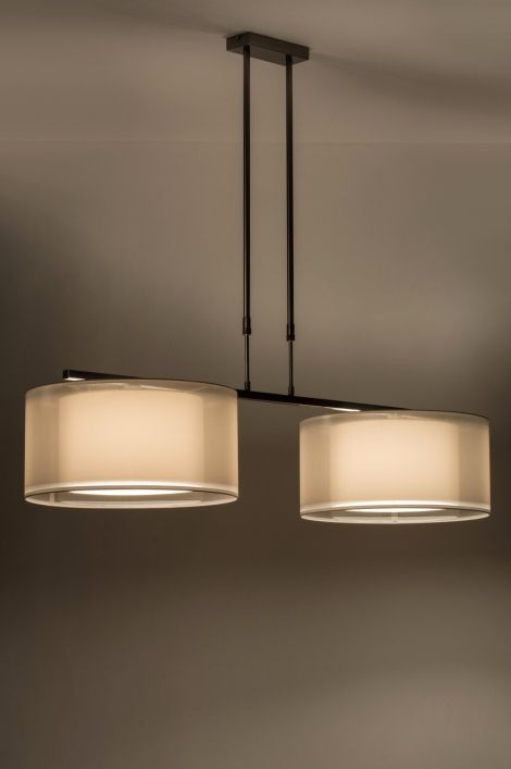 England / UK online shop : click on this link : https://www.lumidora.com/en E-mail: english@rietveldlicht.nl Phone number: 0031 184 421965 . No delivery costs . Suitable for LED Stylish large pendant lamp made of steel. Comes with two double fabric shades. The shades consist of an inner shade made of dense white fabric and an outer shade made of white organza. The difference in transparency creates a beautiful light effect. total width: 131.00 cm / 1 shade : diameter max: 47.00 cm diameter