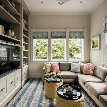 Light Brown Sectional With Gray And Blue Striped Rug Part 73
