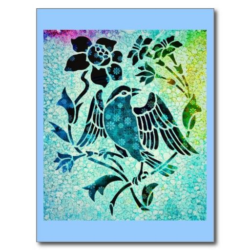 Bird Mosaic Art Postcard. Mixed media art piece. #vintage #art.