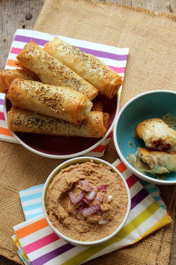 Rotolini di pasta fillo con zampone e crema di lenticchie
