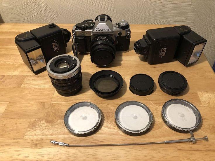 Canon AE-1 Program 35mm Camera With Kiron 28mm Lens Sunpak Flash Works #Canon