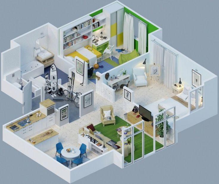 Gambar Denah Rumah Minimalis 3D 18
