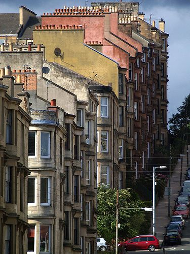 Rows of chimneys in Gardener St, Partick, an area of Glasgow on the north bank of the River Clyde, in Scotland. And look at that hill!