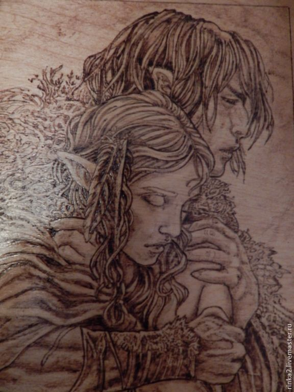 """Купить Картина """"Имя Им - Вечность"""" - коричневый, любовь, эльфы, сказочные существа, сказочные персонажи"""