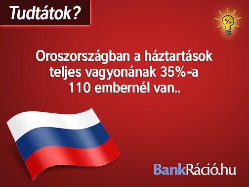 Oroszországban a háztartások teljes vagyonának 35%-a 110 embernél van.. Forrás: http://www.rferl.org/content/russia-billionaire-wealth-inequality/25132471.html