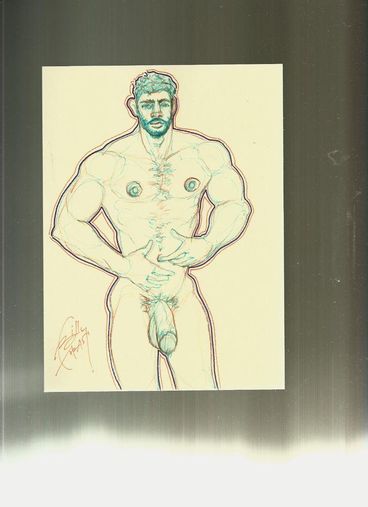 MUSCLE HUNK NUDE PHYSIQUE POSE STUDY arc5 orig gay art BTHRASH