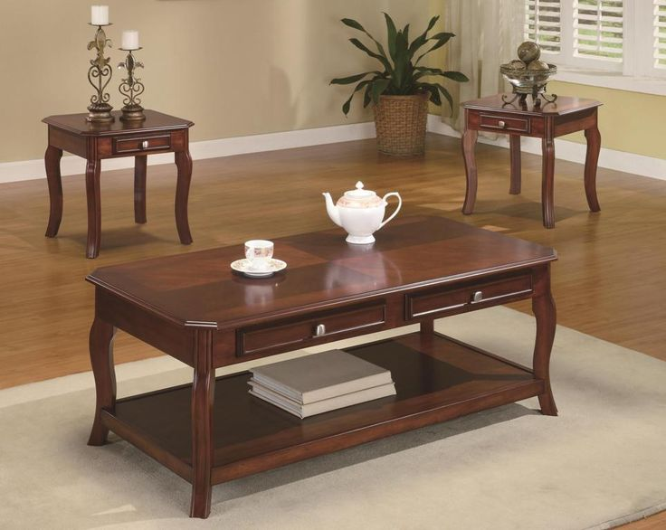 Coffee Table And End Table Sets 3 Piece Coffee Table Set With Storage Drawers Also Stainless Handle tea Set Candles Porcelain Decoration Plant