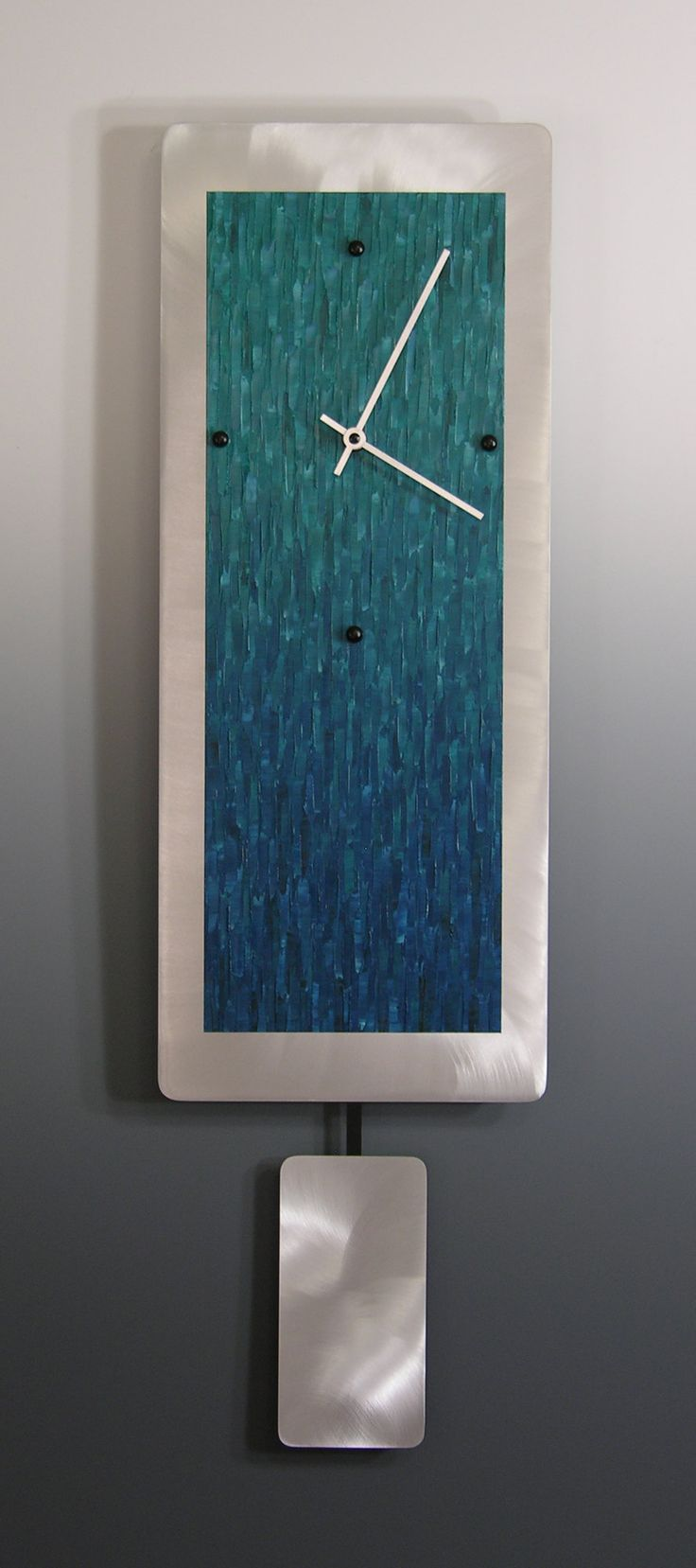 The 25 best teal clocks ideas on pinterest fabric design teal ocean blend on aluminum with pendulum by linda lamore painted metal clock amipublicfo Image collections